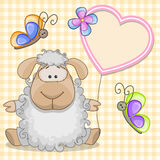 Sheep with heart frame Stock Images