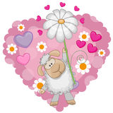 Sheep with hearts and flower Royalty Free Stock Photos