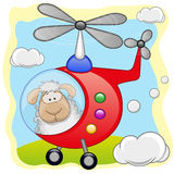 Sheep in helicopter. Sheep is flying in a helicopter royalty free illustration
