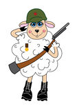 Sheep in a helmet and with gun Vector character Stock Photography