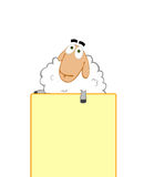 Sheep helps to promote your business. White sheep holds yellow billboard. Advertising, marketing ploy. PR move Royalty Free Stock Image