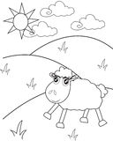 The sheep on the hills coloring page Stock Image