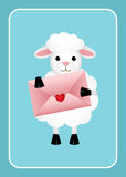 Sheep holding love envelope. Scalable vectorial image representing a sheep holding love envelope on blue bacground Royalty Free Stock Photos