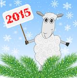 Sheep holds a banner with numbers 2015 and green branches of chr Stock Photography