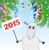 Sheep holds a banner with numbers 2015 year and branch of christ. Mas tree,vector illustration Vector Illustration