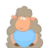 Sheep holds a heart Royalty Free Stock Image