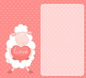 Sheep holds a heart Royalty Free Stock Photography
