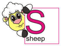 Sheep holds a sign with the letter S Royalty Free Stock Photos