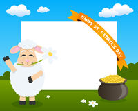 Sheep Horizontal Frame with Ribbon. St. Patricks or Saint Patrick s Day horizontal photo frame with a cute cartoon sheep character smiling and greeting, in a Stock Photography