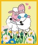 Sheep hug. Vector illustration of sheep hug Royalty Free Stock Images