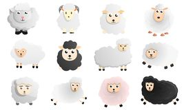Sheep icon set, cartoon style stock illustration