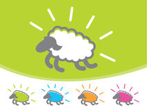 Sheep Icons. Cute colorful sheep jumping through the air Stock Photography