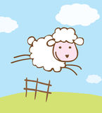 Sheep Illustration. An illustrated background with a cute cartoon sheep jumping over a farm fence Royalty Free Stock Images