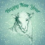 Sheep illustration with snowflake. And retro colors Royalty Free Stock Image