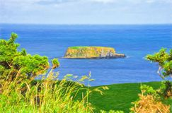 Sheep Island in Ballycastle County Antrim Northern Ireland Digital Art. Seascape view of Sheep Island in Ballycastle County Antrim Northern Ireland. This is royalty free stock photos