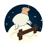 Sheep jump sleep icon Stock Photo