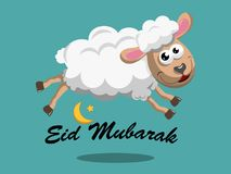 Sheep jumping Eid Mubarak text crescent moon isolated. On white Royalty Free Stock Photo