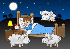 Sheep jumping over the bed of a sleepless man Royalty Free Stock Photography