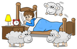Sheep jumping over the bed of a sleepless man Stock Photography
