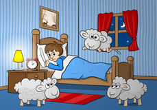 Sheep jumping over the bed of a sleepless man Royalty Free Stock Images