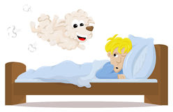 Sheep jumping over the bed of a sleepless man Royalty Free Stock Photos