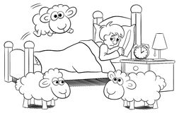 Sheep jumping over the bed of a sleepless man. Vector illustration of sheep jumping over the bed of a sleepless man Stock Photos