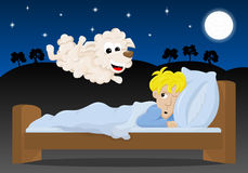 Sheep jumping over the bed of a sleepless man. Vector illustration of sheep jumping over the bed of a sleepless man Stock Photo