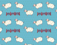 Sheep Jumping Over The Fence Pattern Retro. Vector Isolated Background. Royalty Free Stock Photos