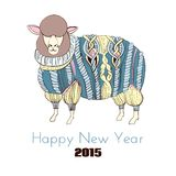 Sheep in knitted sweater. Color hand drawn illustration Stock Images