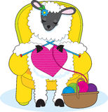 Sheep Knitting Heart Royalty Free Stock Image