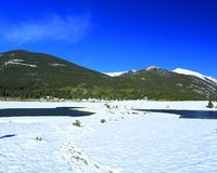 Sheep Lakes in  Rocky Mountain National Park. Snow capped Mountains in late spring after big snowstorm around bighorn sheep lakes Royalty Free Stock Photos