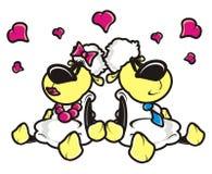 Sheep, lamb, cartoon, couple, love, heart, love, February 14, Valentine's Day Stock Image