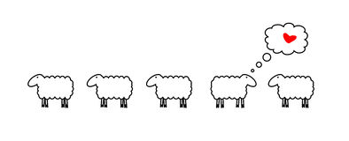 Sheep in love. Vector image of five sheeps. One of sheep is in love Stock Photography
