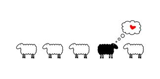 Sheep in love. Vector image of sheeps and one negative Stock Photos