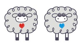 Sheep in Love. A hand drawn illustration of two sheep Stock Photo