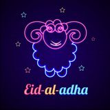 Sheep made by neon effect on brick wall and decorated with stars. For Eid Al Adha Festival of Sacrifice celebration concept Stock Image