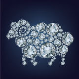Sheep made up a lot of diamonds. 2015 new year card with sheep made up a lot of diamonds on the black background Royalty Free Stock Photography