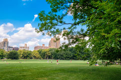 The Sheep Meadow at Central Park in New York City on a summer da Royalty Free Stock Images