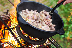 Sheep meat fried with onions in oil Stock Image