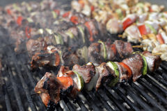 Sheep meat with vegetables on a grill Royalty Free Stock Photo