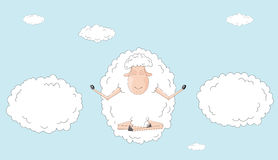 Sheep meditates in sky among the clouds as symbol Royalty Free Stock Photography
