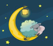 Sheep on the moon Stock Images