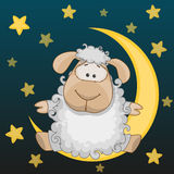 Sheep on the moon. Greeting card Sheep on the moon Stock Photos