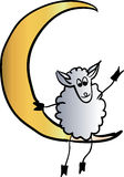 Sheep on the moon  illustration Royalty Free Stock Photo