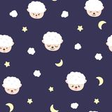 Sheep, moon and stars, baby adorable seamless pattern, pajamas concept for childhood background texture vector cartoon stock illustration