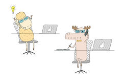 Sheep and moose talking on the phone. Hand drawn vector illustration of a funny sheep and moose as office workers, talking on the phone. Line drawing. Isolated Stock Photography