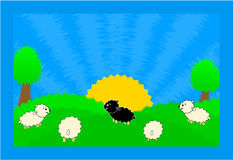 Sheep in nature. Illustration,ai+eps Royalty Free Stock Image