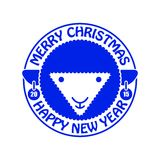 Sheep. New year card. Vector illustration Royalty Free Stock Photo