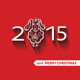 Sheep in New year 2015 celebration greeting card Stock Images