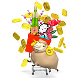 Sheep,New Year's Ornaments,Shopping Cart Royalty Free Stock Photography
